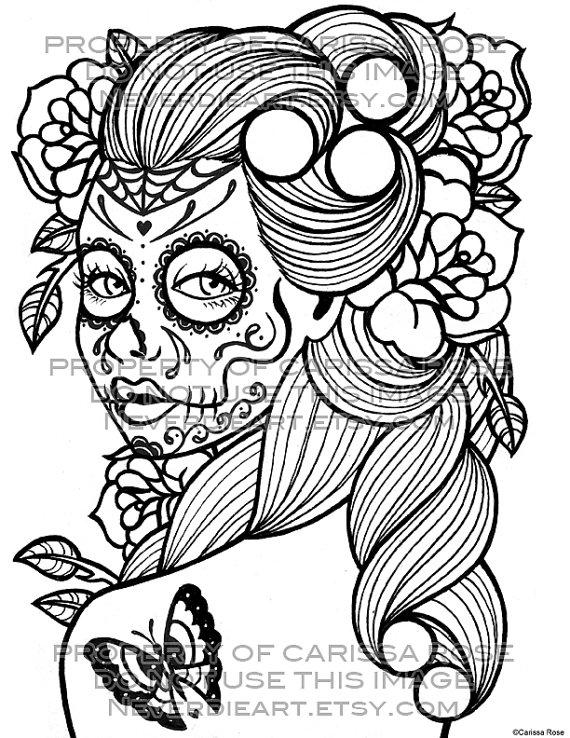 570x738 Adult Sugar Skull Girl Coloring Creative Adult Coloring