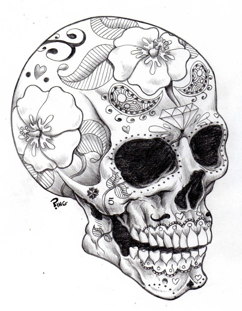 789x1012 Candy Skull Drawing Step By Step