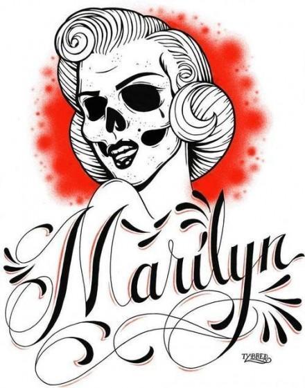 440x561 Marilyn Monroe Skull Poster Na Art