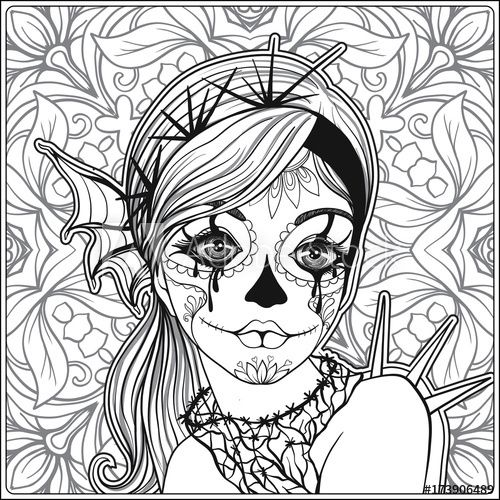500x500 Portrait Of A Young Beautiful Girl In Halloween Or Day Of The Dead