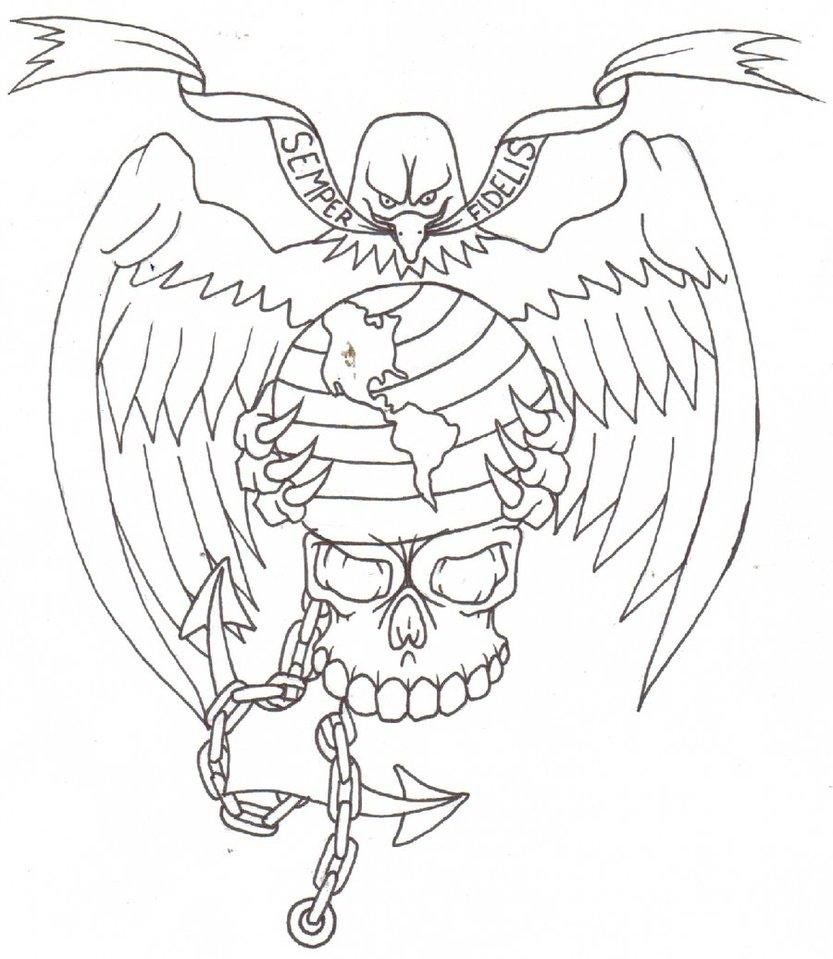 833x959 Marine Corps Tattoo Flash By Thought Corrosion