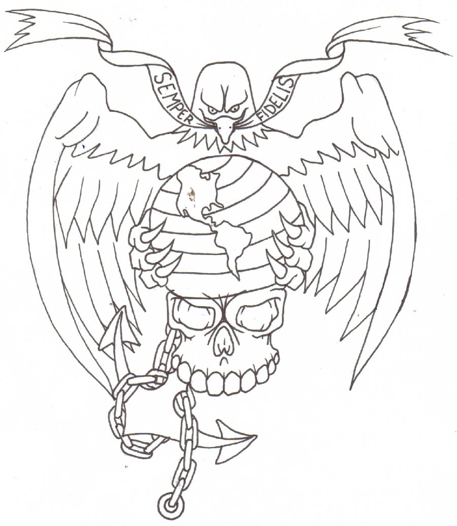 900x1036 Marine Corps Tattoo Flash By Thought Corrosion