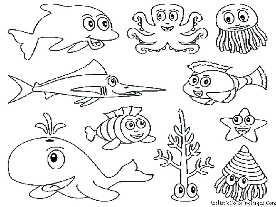 940x705 Ocean Life Coloring Pages 86 As Well As Sea Life Coloring Animals