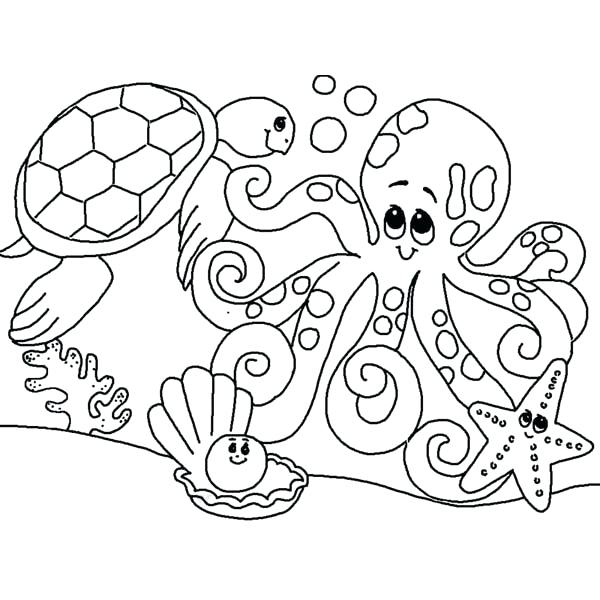 600x600 Marine Life Coloring Pages Marine Life Coloring Free Ocean Life