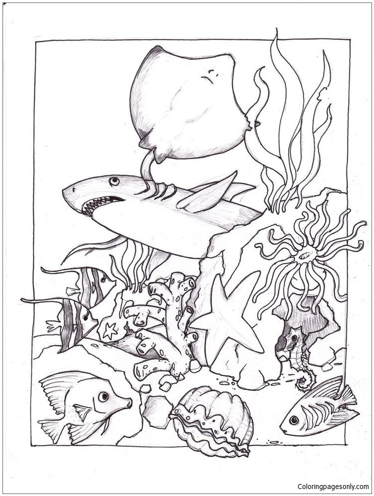 749x993 Marine Life Under The Ocean Floor 1 Coloring Page