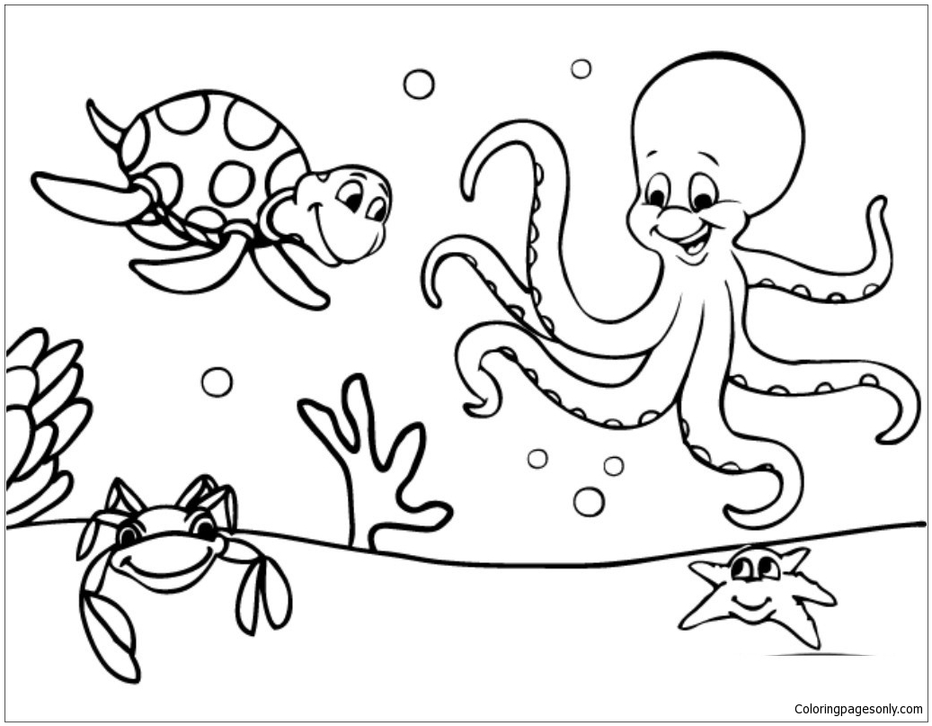 1037x807 Marine Life Under The Ocean Floor Coloring Page