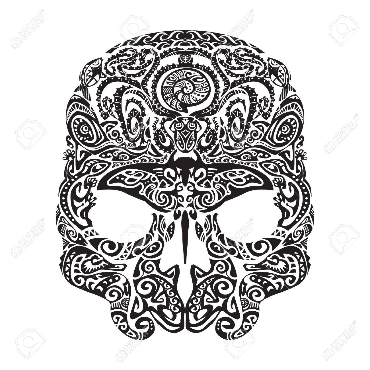 1300x1300 Skull Tattoo In The Style Of Maori With Marine Life. Sea Creatures
