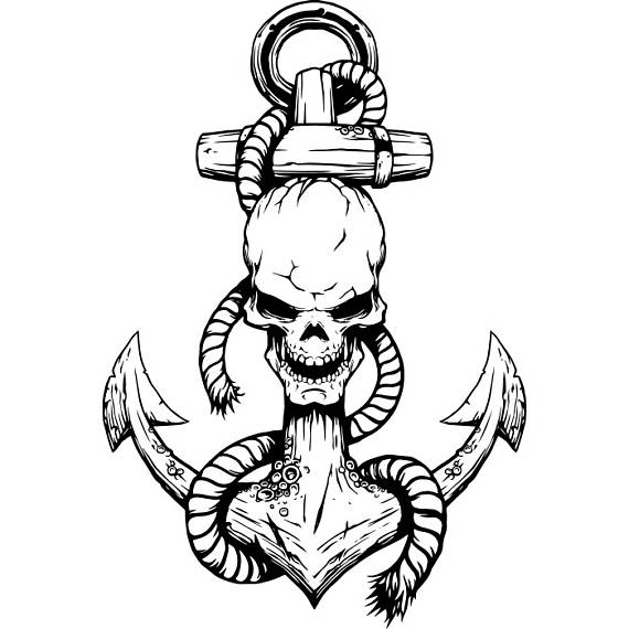 570x570 Anchor Logo 7 Skull Rope Ship Boat Nautical Marine Sailing