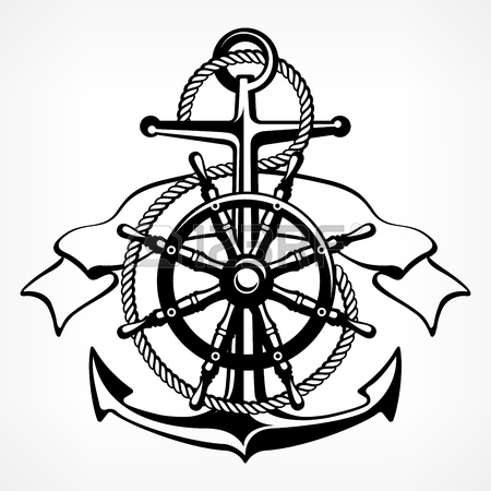 450x450 Nautical Symbols, Anchor, Steering Wheel, Compass, Lifebuoy