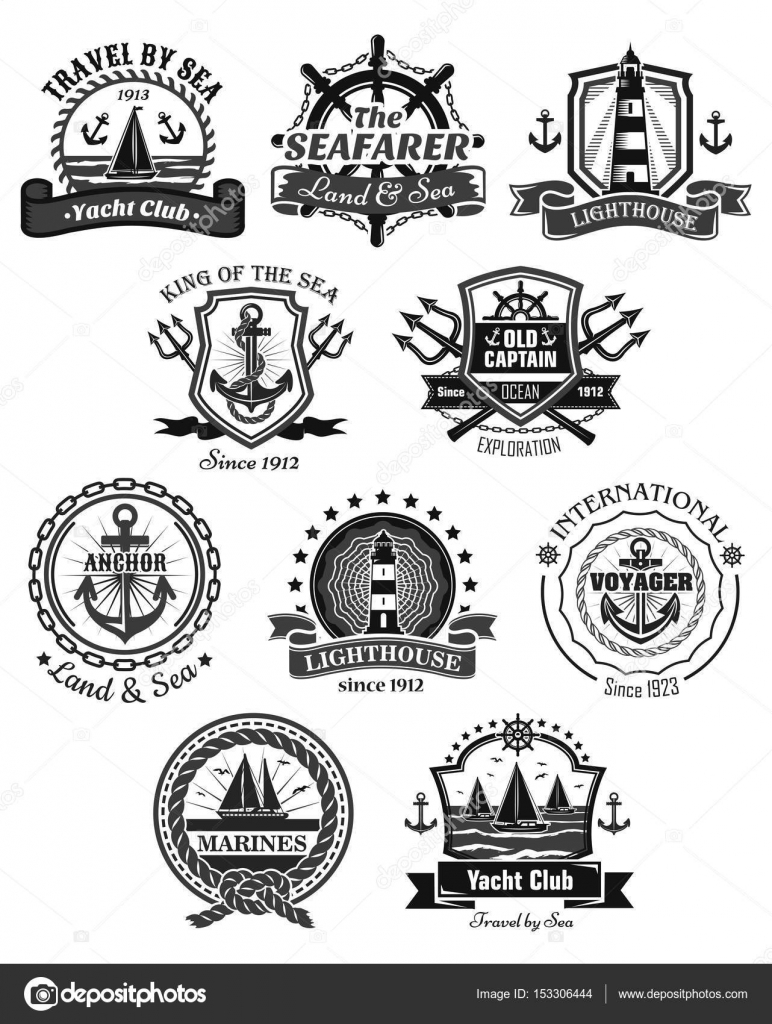772x1024 Nautical And Marine Symbols Vector Icons Set Stock Vector
