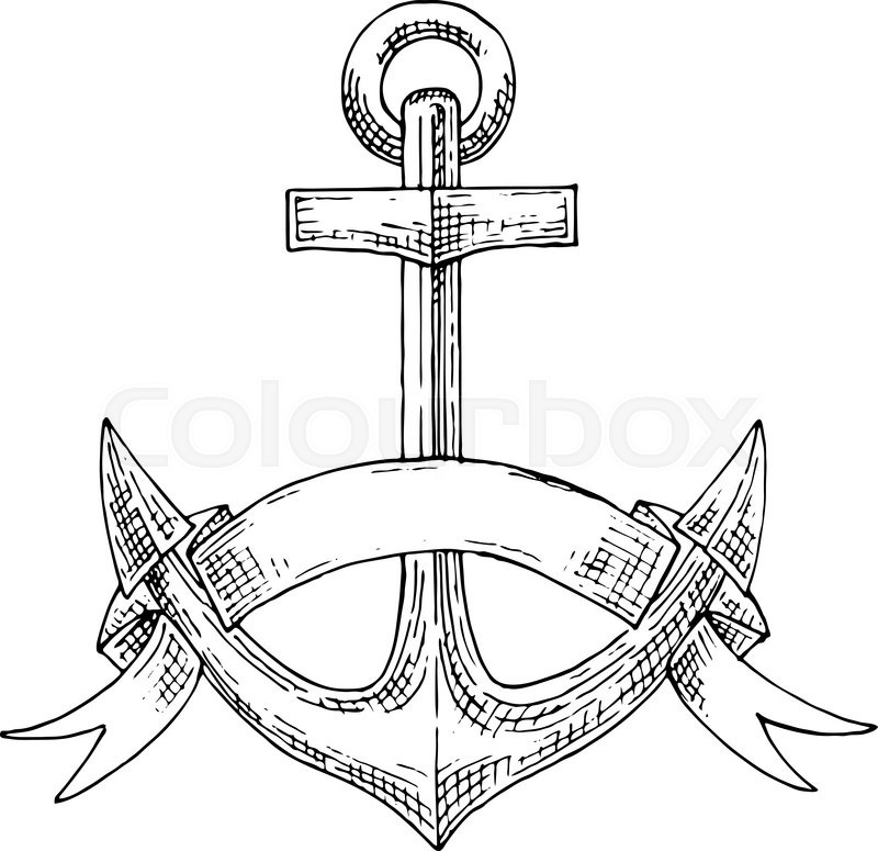 800x775 Nautical Emblem With Sketch Of Admiralty Anchor, Adorned By
