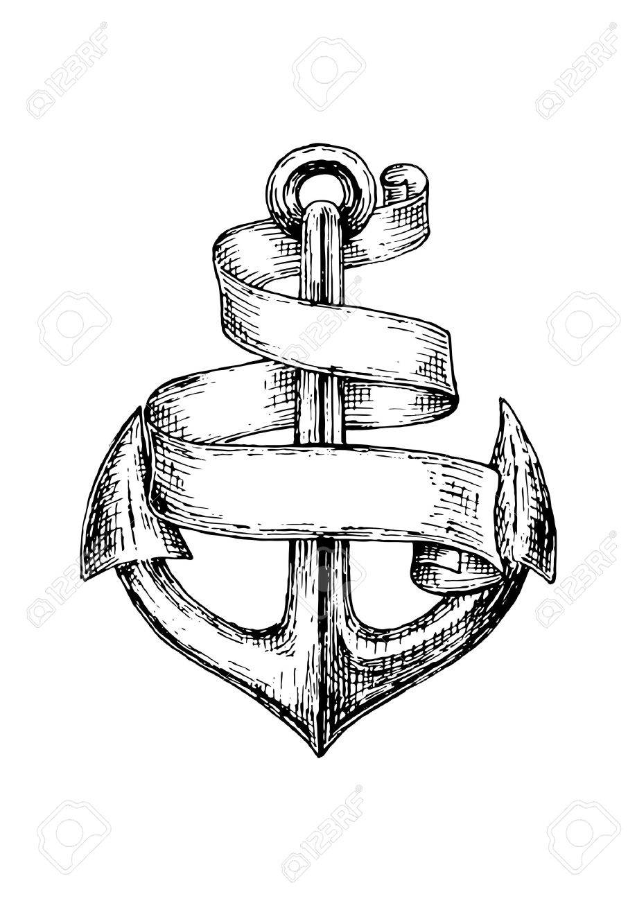 919x1300 Old Heraldic Anchor Isolated Sketch With Wavy Ribbon Banner
