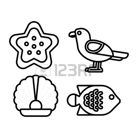 444x450 Set Of Marine Sea Icons And Nautical Decorations Isolated