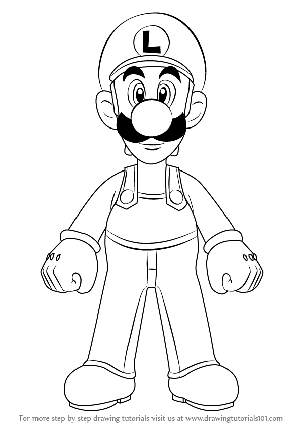 598x844 Learn How To Draw Luigi From Super Mario (Super Mario) Step By