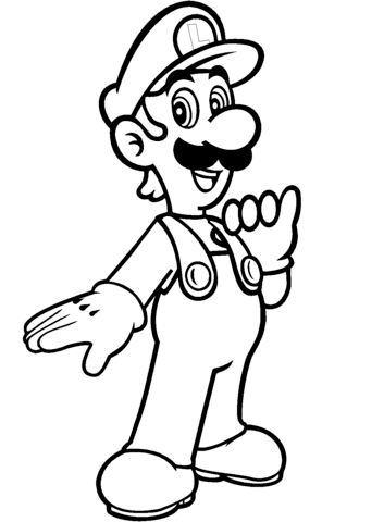 353x480 Luigi From Mario Bros. Coloring Page Free Printable Coloring Pages