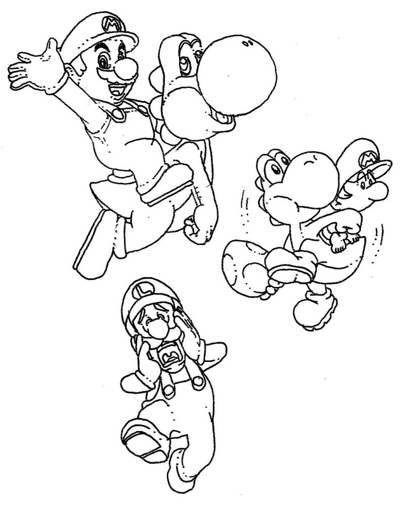 795x1005 Mario, Mario Jr., Yoshi, And Luigi By Bi9mik3