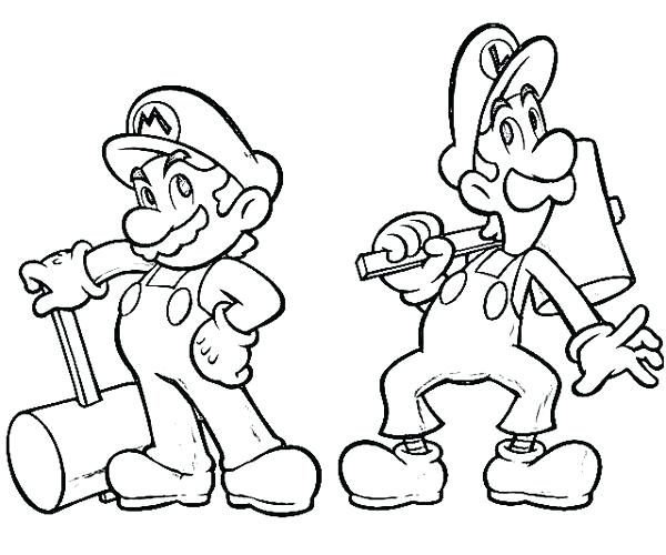 600x500 Mario And Luigi Coloring Pages Super Brothers Coloring Book