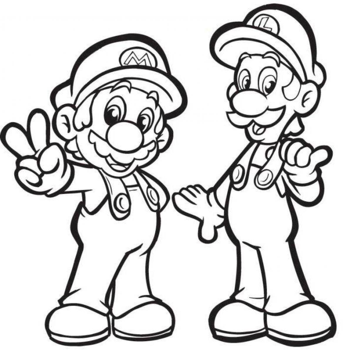 1168x1200 Mario And Luigi Drawing Drawing For Kids Mario Printable