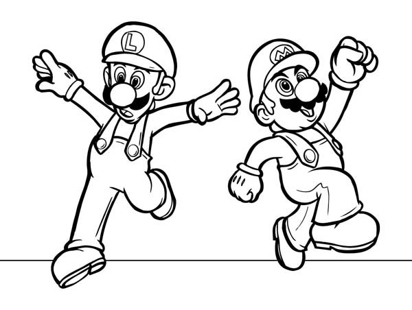 600x452 Mario And Luigi Dancing In Mario Brothers Coloring Page Color Luna