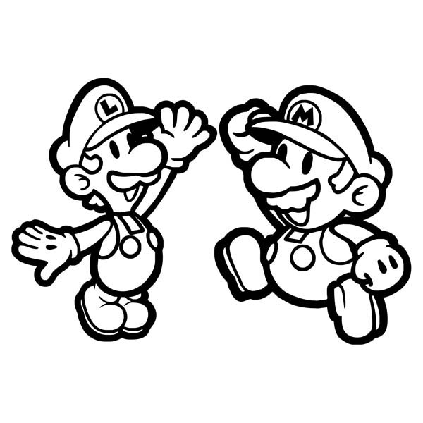600x600 Mario And Luigi High Five In Mario Brothers Coloring Page Color Luna