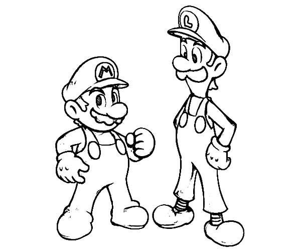 600x500 Mario And Luigi Is Teammate Coloring Pages Mario And Luigi Is