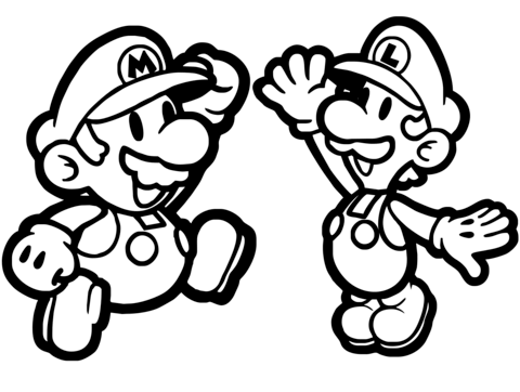 480x362 Paper Mario And Luigi Coloring Page Free Printable Coloring Pages