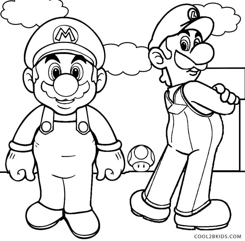 850x835 Printable Luigi Coloring Pages For Kids Cool2bkids Line Art