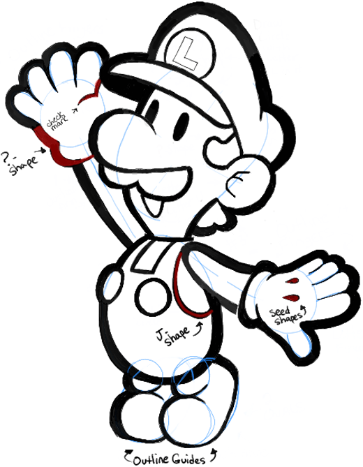 520x669 How To Draw Paper Luigi From Paper Mario Step By Step Drawing