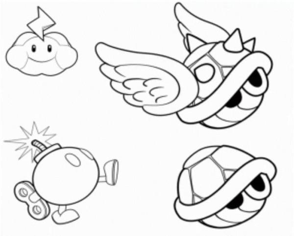 600x482 Koopa Shells, Mario Bomb And Thundercloud Mario Coloring Page
