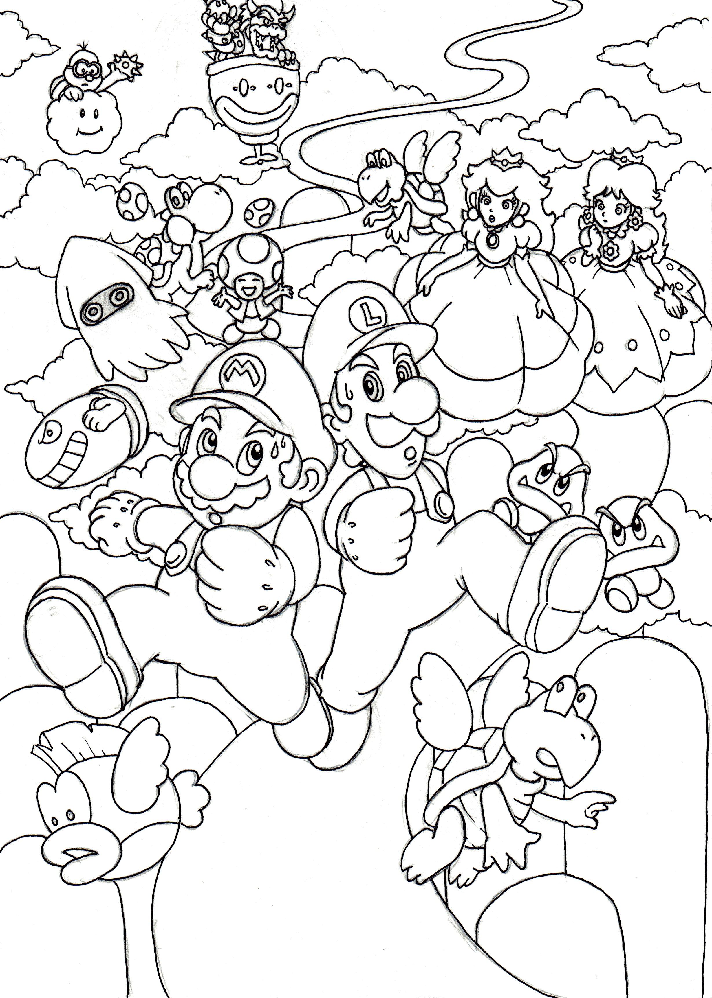 Mario Bros Drawing at GetDrawings.com | Free for personal use Mario ...