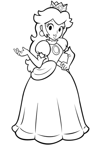 325x480 Mario Bros. Princess Peach Coloring Page Free Printable Coloring