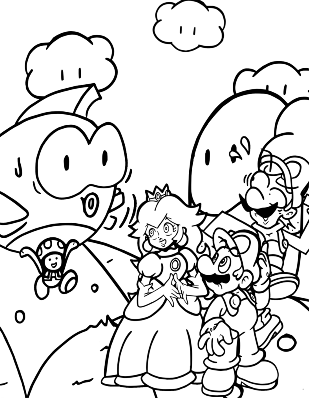 1314x1693 Super Mario Galaxy Coloring Pages To Print Preschool For Cure Draw