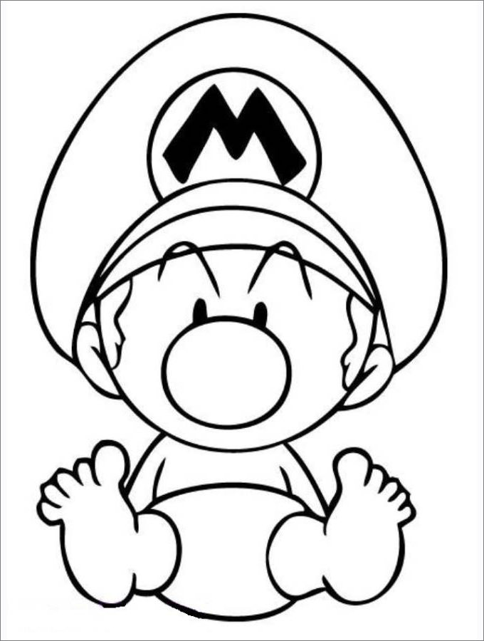 680x900 Mario Coloring Pages