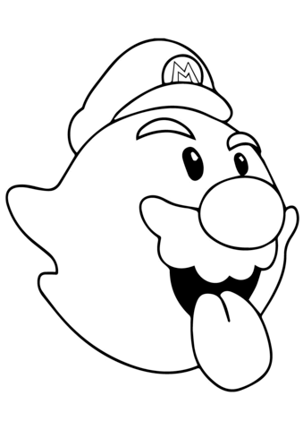 339x480 Boo Mario Coloring Page Free Printable Pages
