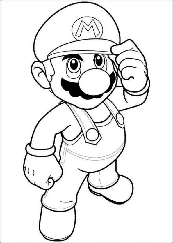 595x834 Free} Printable Coloring Page Super Mario Mario Birthday