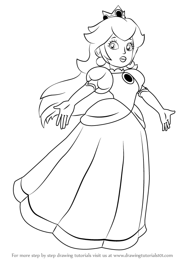 597x844 Learn How To Draw Princess Peach From Super Mario (Super Mario