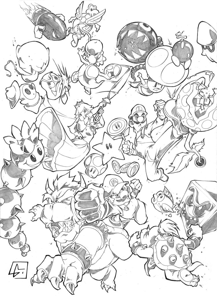 751x1063 Super Mario And Friend Vs Enemies By Marvelmania
