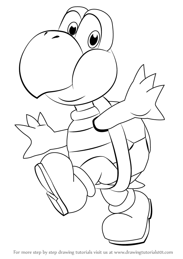 597x844 Step By Step How To Draw Koopa Troopa From Super Mario