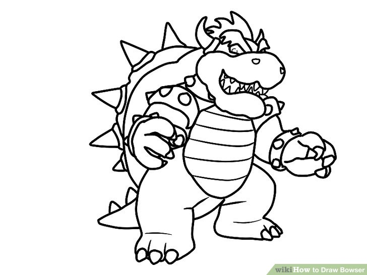 728x546 How To Draw Bowser (With Pictures)