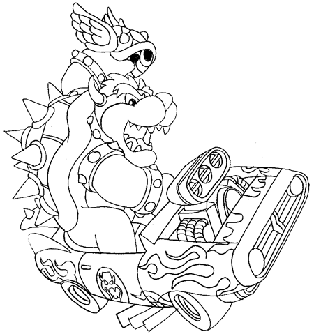 450x479 How To Draw Bowser Driving A Car And Throwing A Koopa From Mario