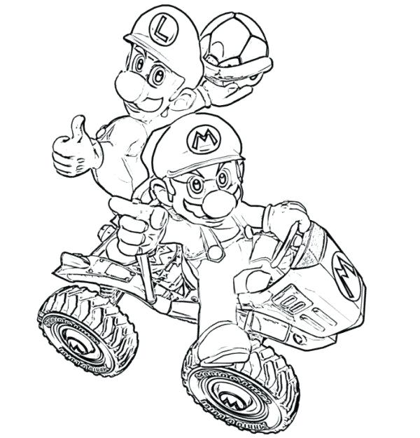 600x625 Mario Cart Coloring Pages Kart