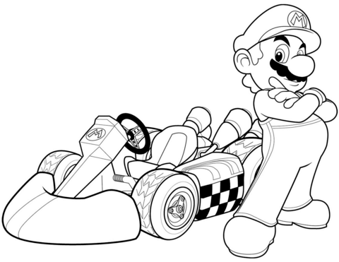 480x371 Mario In Kart Wii Coloring Page Free Printable Pages