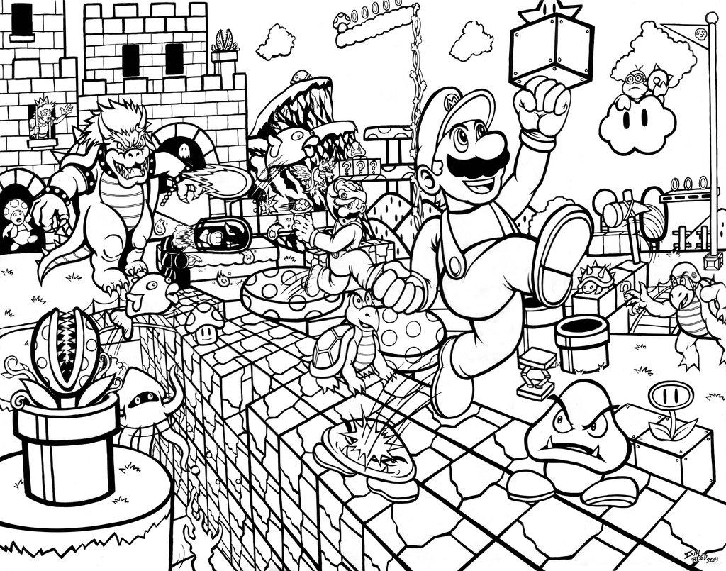 1024x805 Super Mario Bros. Mushroom Kingdom Madness Inked By Soulstryder210