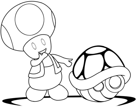 480x383 Toad With Green Shell Coloring Page Coloring Toad
