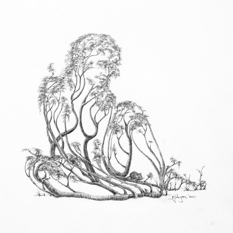 899x900 A Little Visit Drawing By Mark Johnson