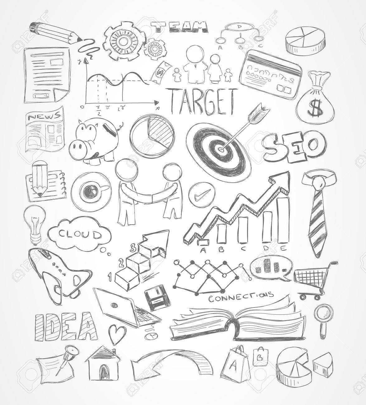 1175x1300 13,729 Doodle Marketing Stock Vector Illustration And Royalty Free