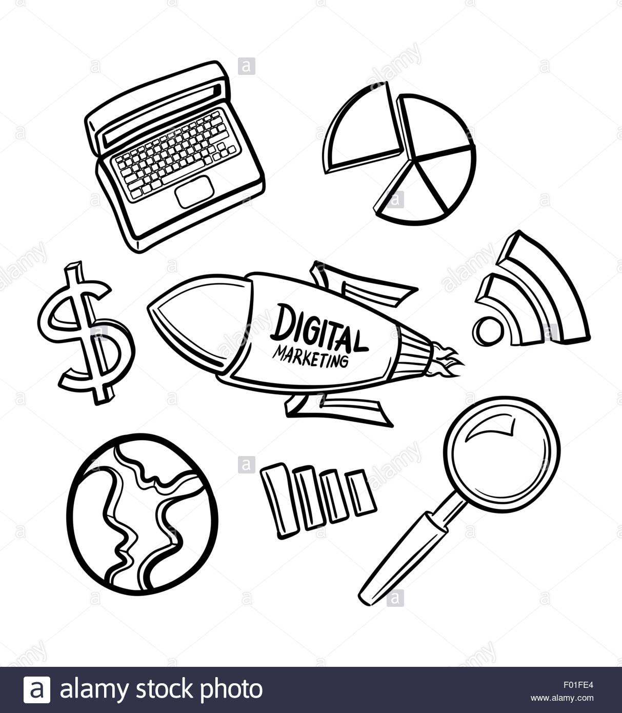 1213x1390 Digitally Generated Marketing Icons Hand Drawn Vector Stock Vector