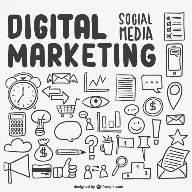 626x626 Digital Marketing Scribbles Vector Free Download