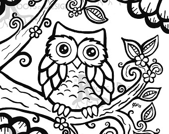 340x270 Owl Coloring Page On Etsy, A Global Handmade And Vintage