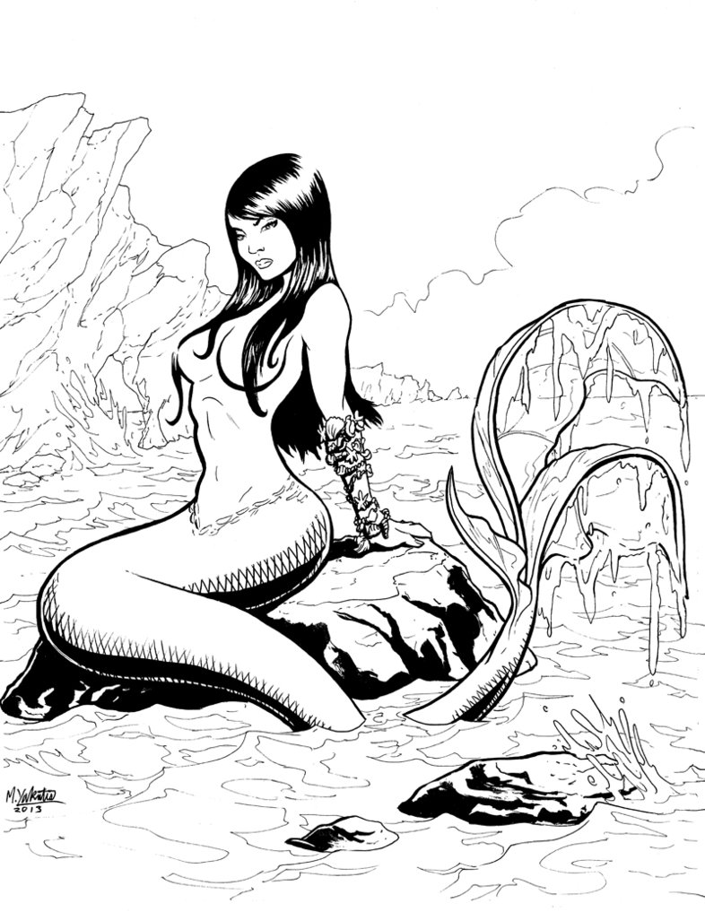 786x1017 The Maidens Pin Up Mermaid on Rock by AurynPub on deviantART